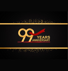99 years anniversary logotype with golden color vector