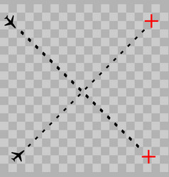 airplane line path icon of air vector image