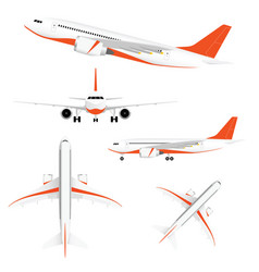 Airplane with two motors and orange color vector