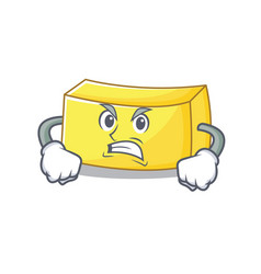 Angry butter mascot cartoon style vector
