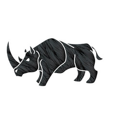 Angry rhino ready to fight cartoon graphic vector