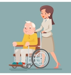 Attendant Nurse Caring for Elderly Wheelchair Old vector image