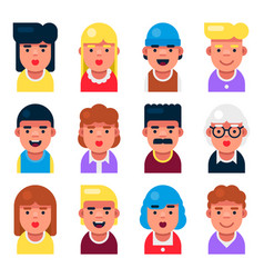 avatar userpic set cute cartoon characters icons vector image