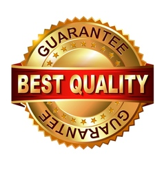 Best Quaiity golden label with ribbon vector image
