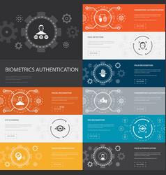 Biometrics authentication infographic 10 line vector
