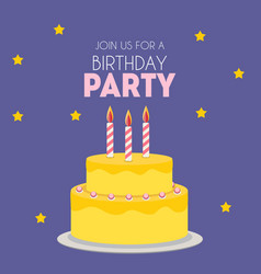 birthday party invitation with cute cake vector image