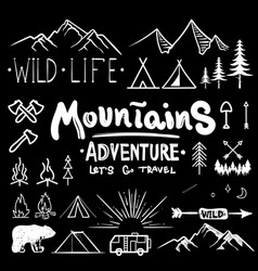 Black and white camping collection icon made vector