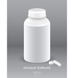Blank Plastic Packaging Bottle with Cap for Pills vector image