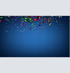Blue festive background with colorful serpentine vector