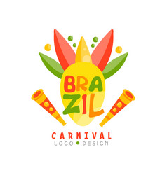 Brazil carnival logo design colorful festive vector
