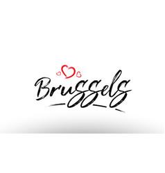 Brussels europe european city name love heart vector