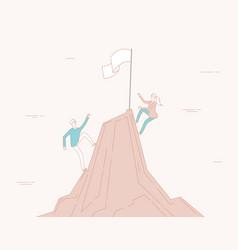 Business climbing woman man climb to success vector
