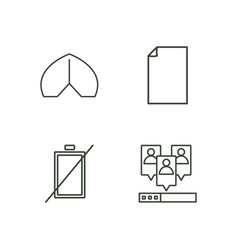 business outline icons set vector image