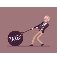 Businessman dragging a weight Taxes on chain vector image