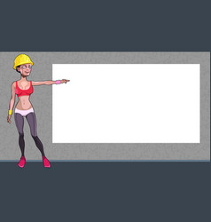 cartoon girl worker in a helmet points hand at a vector image