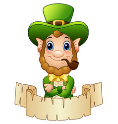 Cartoon leprechaun with a smoking pipe and a scrol vector