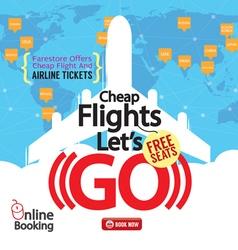 Cheap Flights Advertising Banner vector image