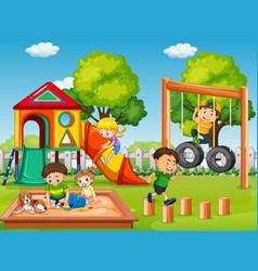 Children in playground scene vector