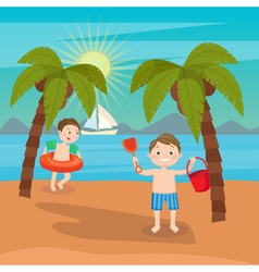 Children Sea Vacation Boys Playing on the Beach vector image