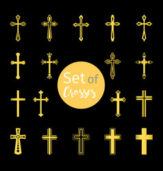 Christian crosses signs in golden color vector