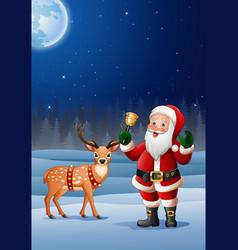 christmas background santa cartoon ringing bell vector image