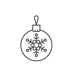 christmas decoration ball line icon concept vector image