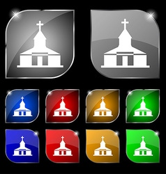 Church Icon sign Set of ten colorful buttons with vector