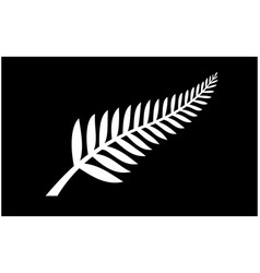 Classic silver fern new zealand flag vector
