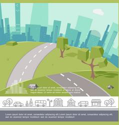 colorful urban landscape template vector image
