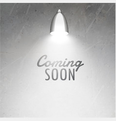 Coming soon text placed under glowing lamp on vector