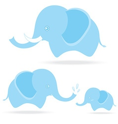 cute elephant family cartoon drawing thailand vector image