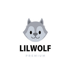 cute little wolf cartoon logo icon vector image