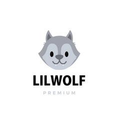 Cute little wolf cartoon logo icon vector