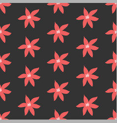 Cute seamless pattern with poinsettias vector