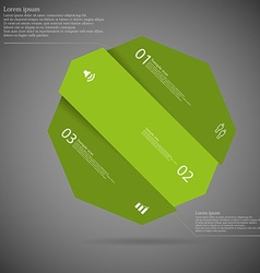 Dark infographic with octagon askew divided to vector