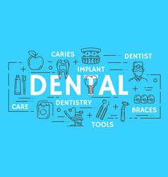 dentistry medicine dental clinic thin line banner vector image