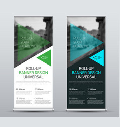 design roll-up banners with transparent green vector image