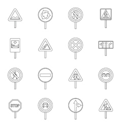 Different road signs icons set outline style vector