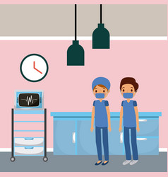 Doctors in hospital room ekg machine furniture vector