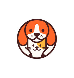 Dog cat pet circle round cartoon logo icon vector