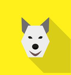 dog face flat style icon logo on yellow background vector image