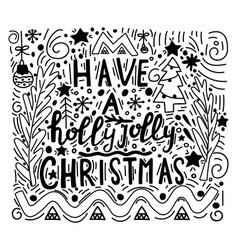 doodle style with merry christmas vector image