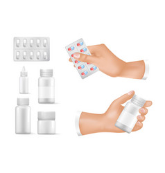Empty containers for medicines in human hands set vector