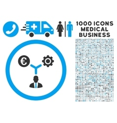 Euro Financial Development Icon with 1000 Medical vector image