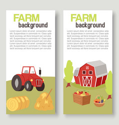 Farm harvestingbcrops with tractor and barn vector