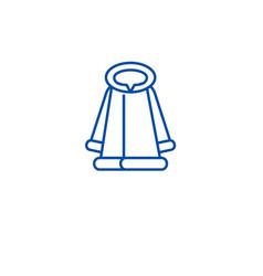 fashion fur coat line icon concept fashion fur vector image