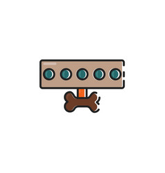 flat color dog leash icon vector image