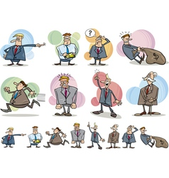 Funny businessmen set vector