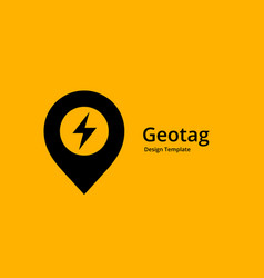 geotag with lightning or location pin logo icon vector image