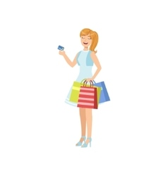 Girl Smiling Paying With Credit Card In Shopping vector image
